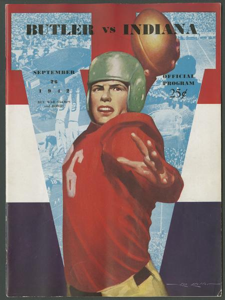 Cover of IU vs Butler football program, Sept. 23, 1942