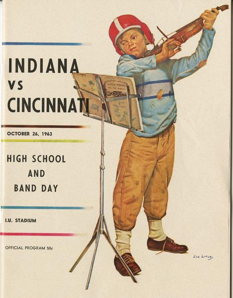 Cover of IU vs Cincinnati football program, Oct. 26, 1963