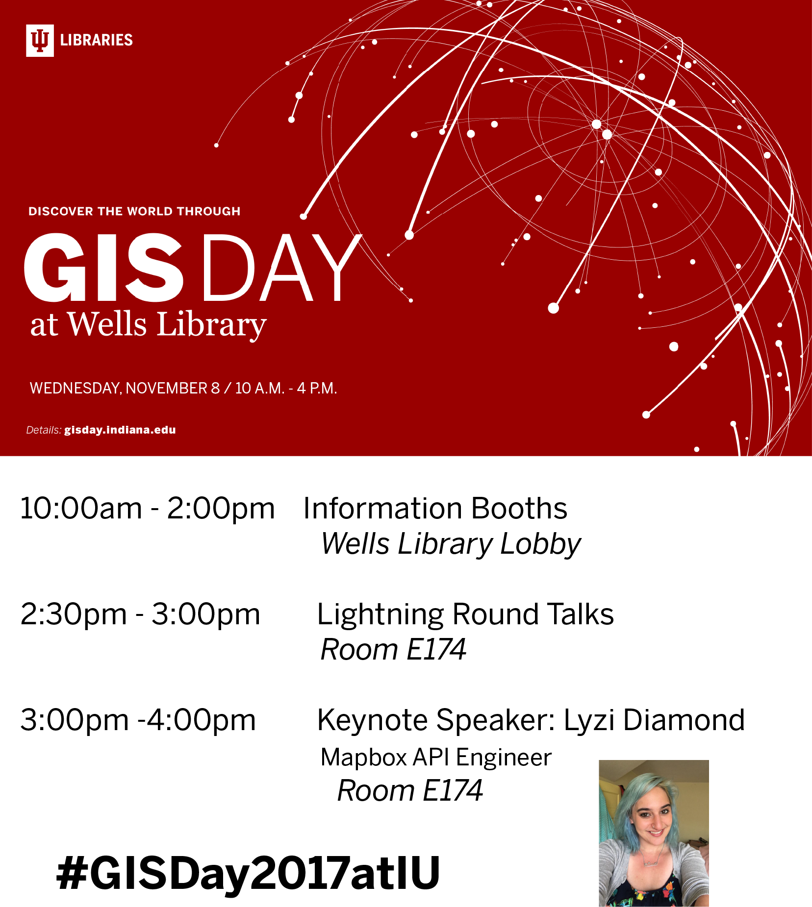 10am-2pm Information booths in Wells Library Lobby. 2:30pm Lightning Round Sessions. 3pm Keynote speaker Lyzi Diamond
