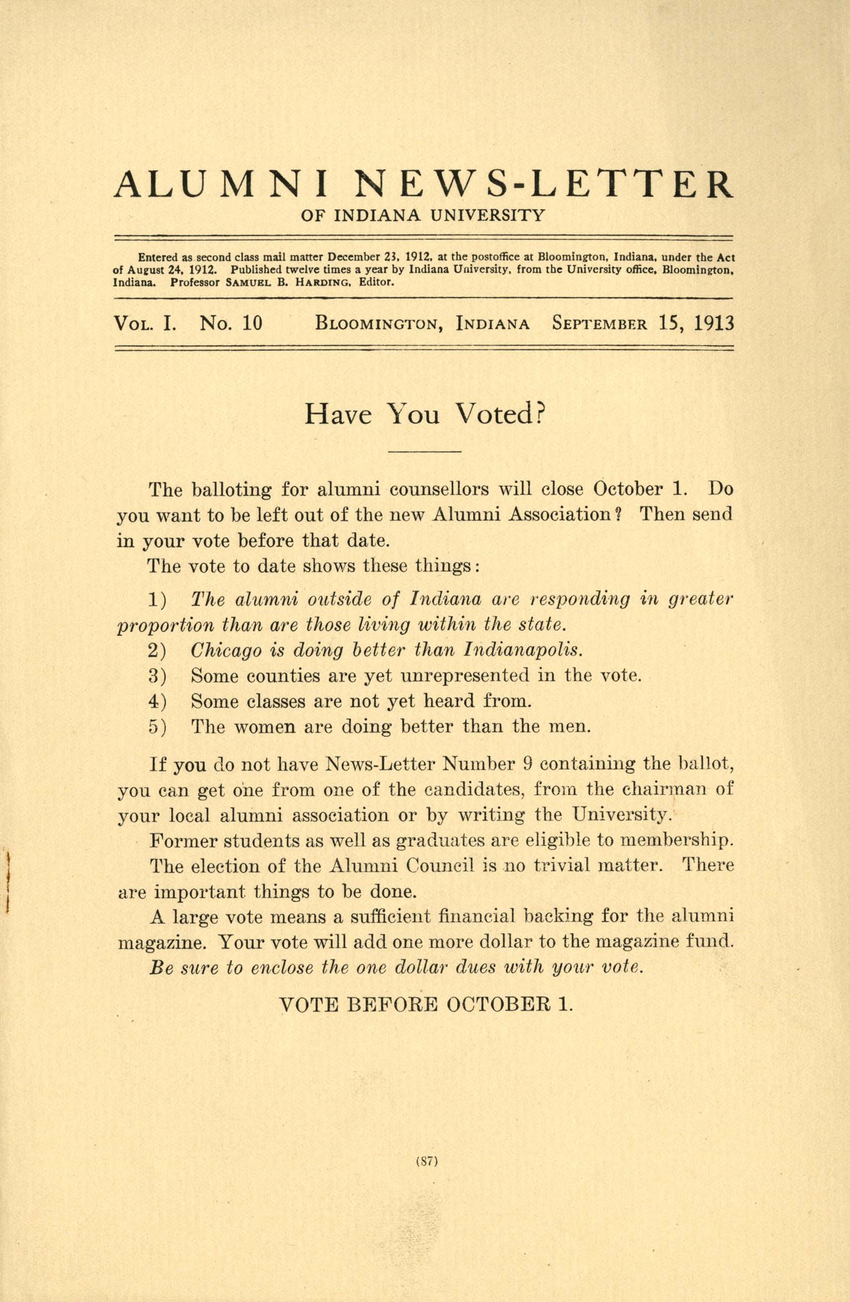 Front cover of the September 1913 Alumni Newsletter of Indiana University featuring the headline 'Have You Voted?'