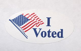 """Picture of """"I Voted"""" sticker."""