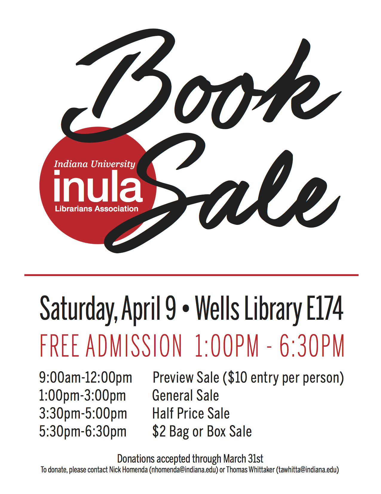 Poster describing the 2016 book sale
