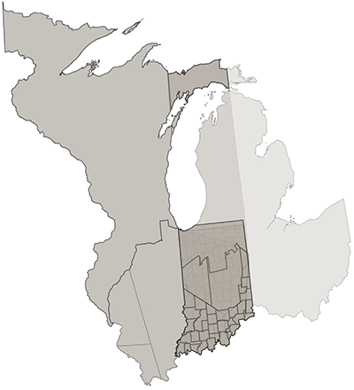 map showing overlayed maps of Indiana territory and modern boundaries