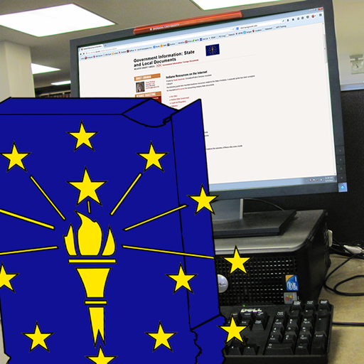 The State of Indiana, aglow with the light from its torch, examines the website of links about itself.