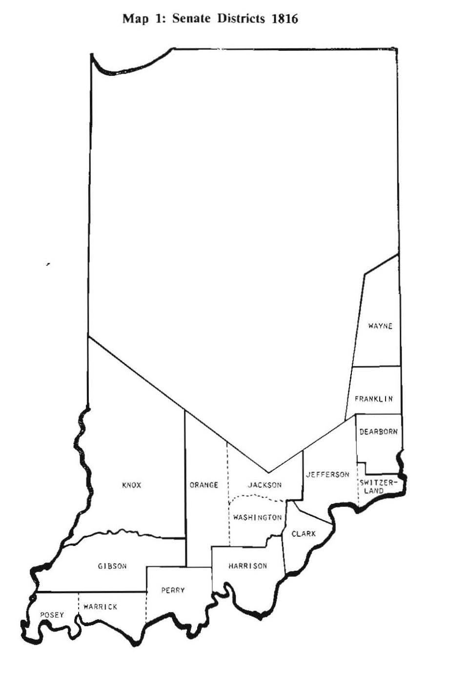 Map of Indiana showing Senate Districts in 1816