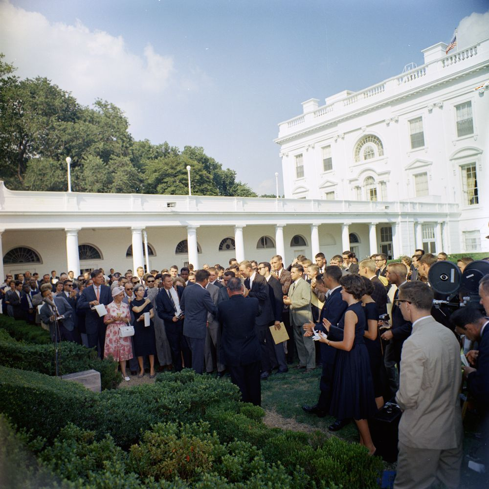 President Kennedy meets the first Peace Corps volunteers