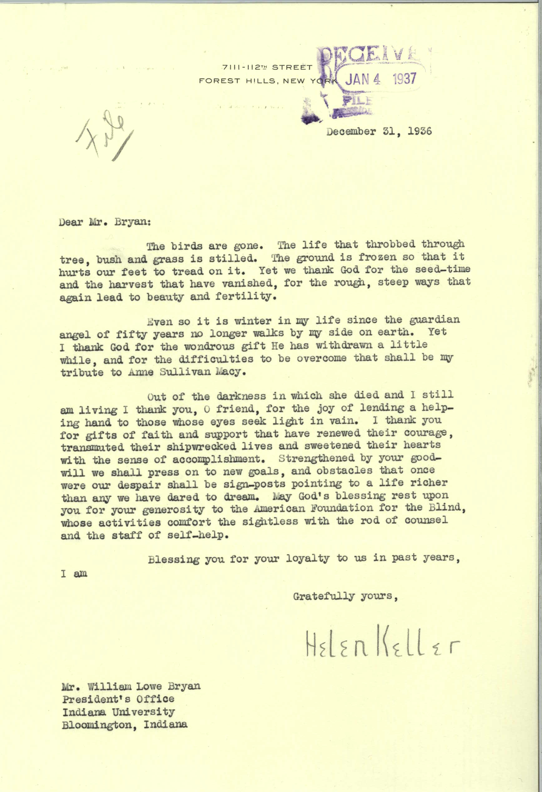 Letter from Hellen Keller to IU President, dated 1936