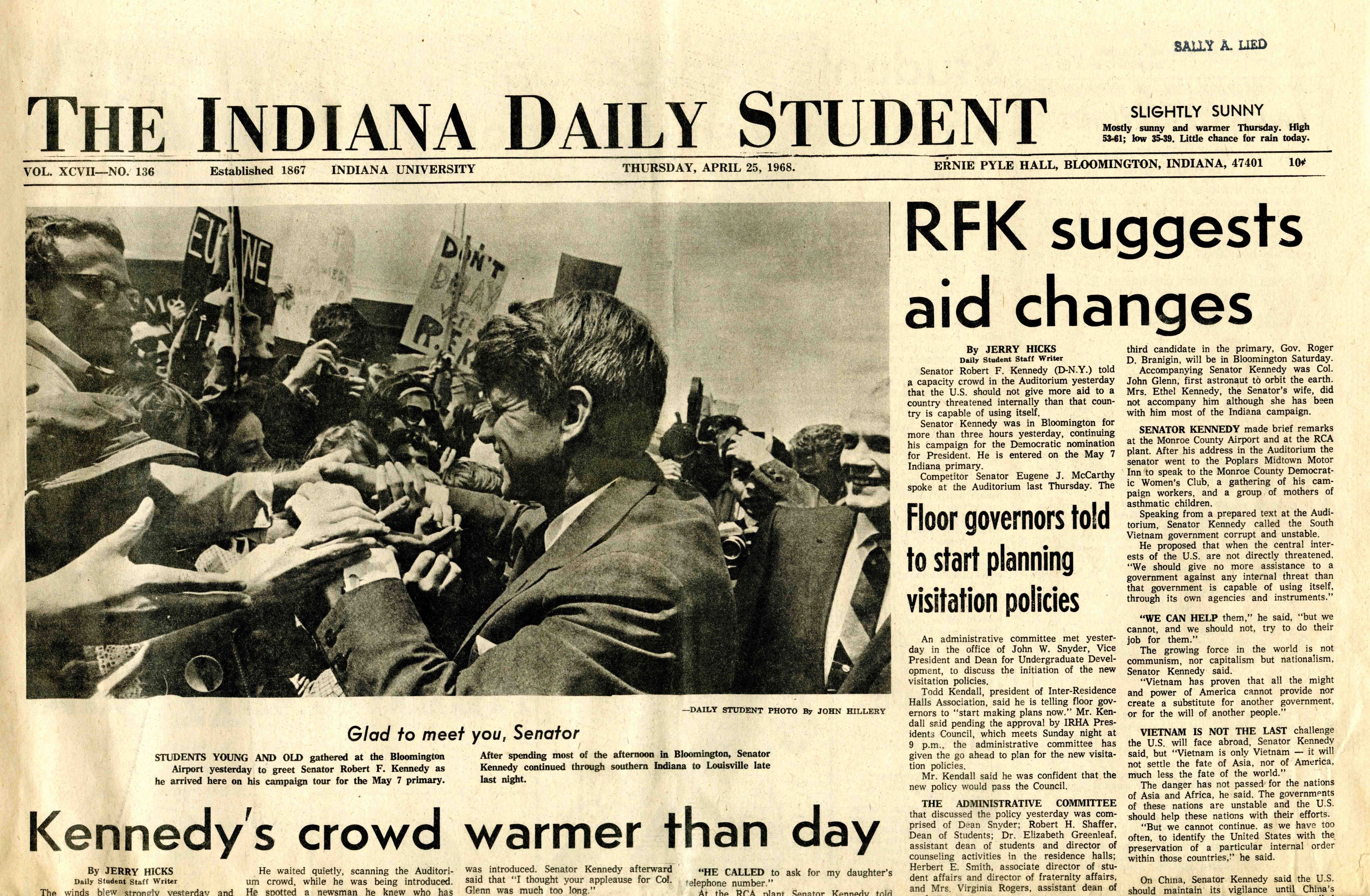 Indiana Daily Student, April 25, 1968