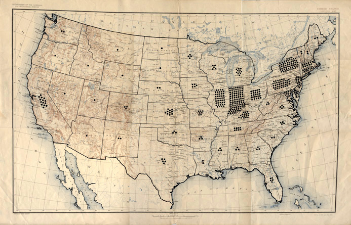 Map has different numbers of black dots in all 48 contiguous states. This map is strikingly similar to the map created by Dr. Kinsey to denote the location and number of interviews made for his book Sexual Behavior in the Human Male.