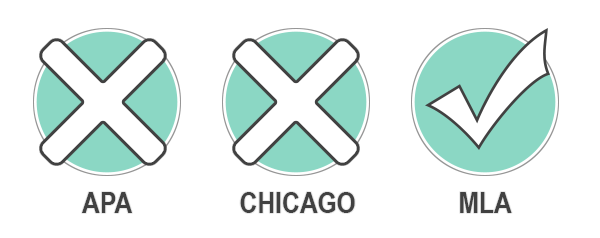 An 'x'ed box above 'APA', another above 'Chicago' and a check above 'MLA'