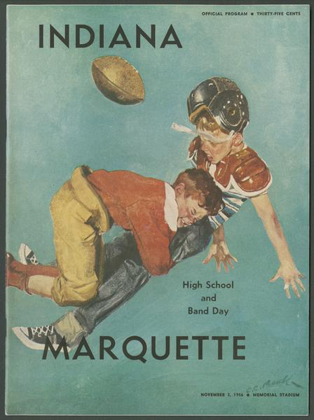 Cover of IU vs Marquette football program, Nov. 3, 1956