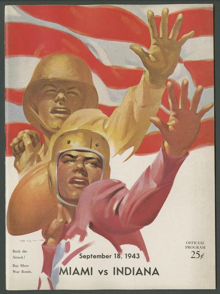 Cover of IU vs Miami Ohio football program, Sept. 28, 1943