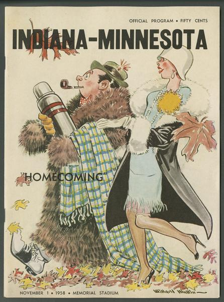 Cover of IU vs Minnesota football program, Nov. 1, 1958