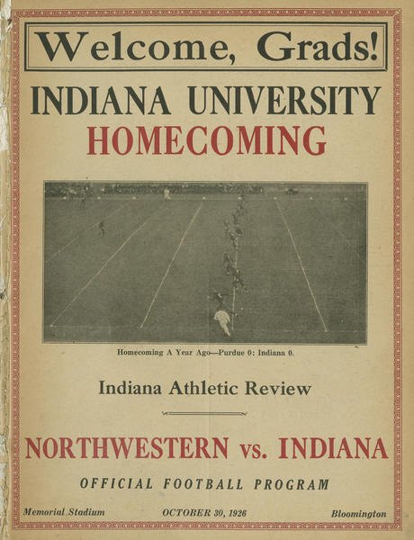 Football program cover, IU vs Northwestern, 1926