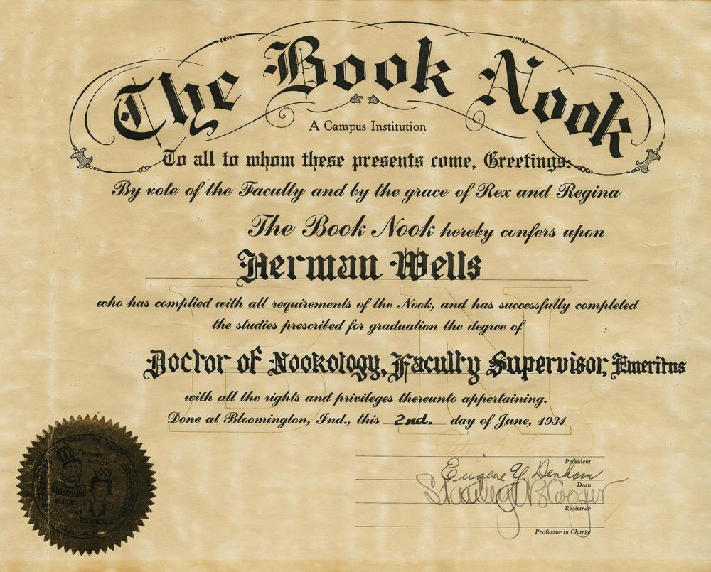 Book Nook diploma, June 2, 1931, includes text 'The Book Nook hereby confers upon Herman Wells...the degree of Doctor of Nookology, Faculty Supervisor, Emeritus'