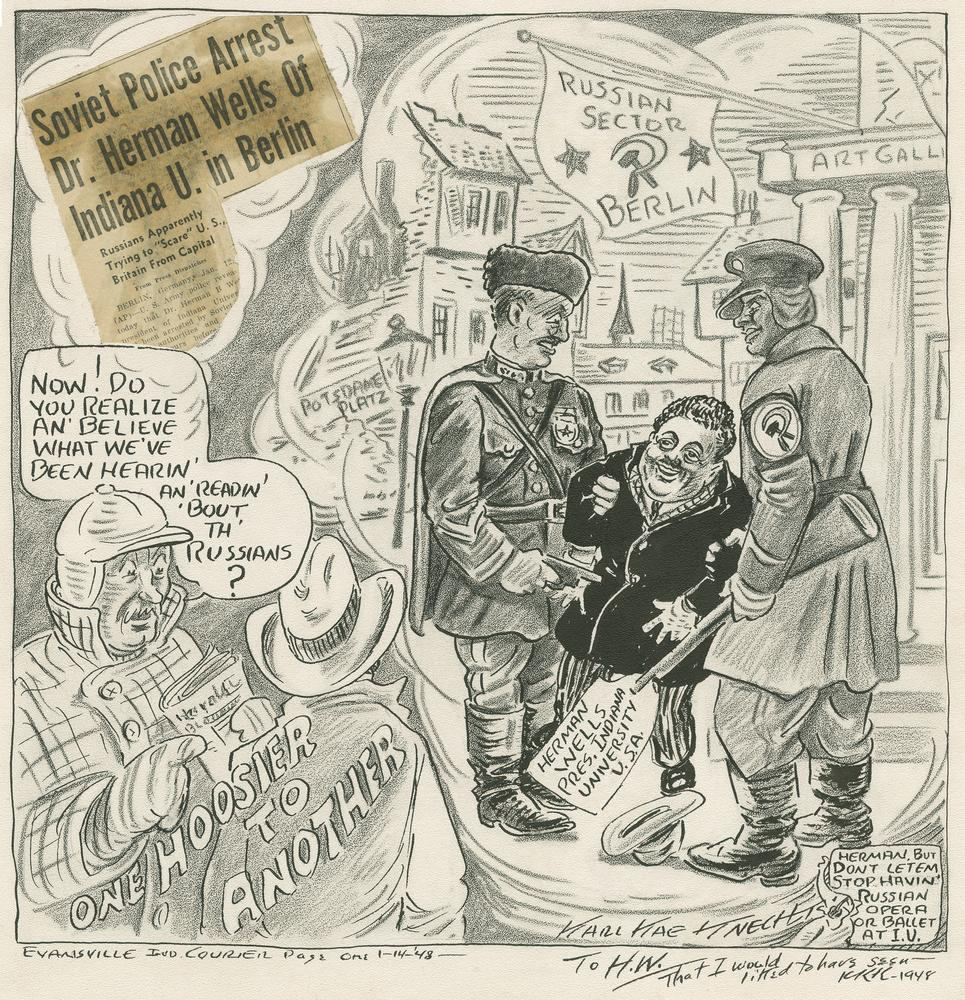 Cartoon of Herman Wells being arrested by 2 Soviet soldiers in Berlin
