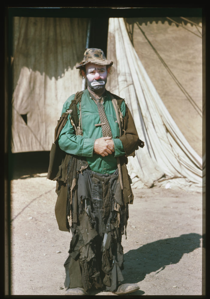 Emmett Kelly, August 11, 1946. Cushman Collection, Indiana University Archives, P03429