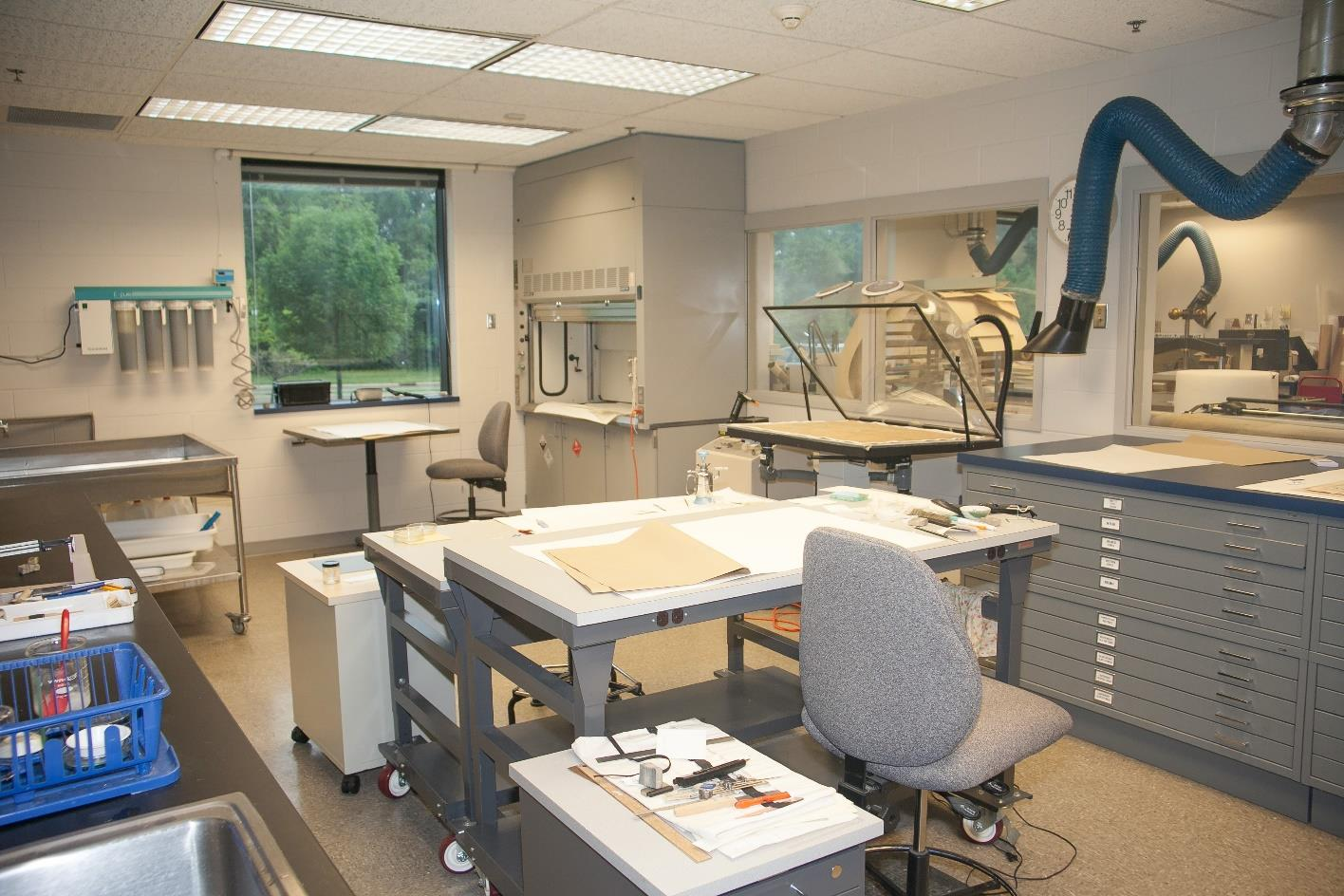 Preservation Lab Paper Conservation workspace