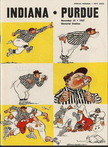 Cover of IU vs Purdue football program, Nov. 23, 1957