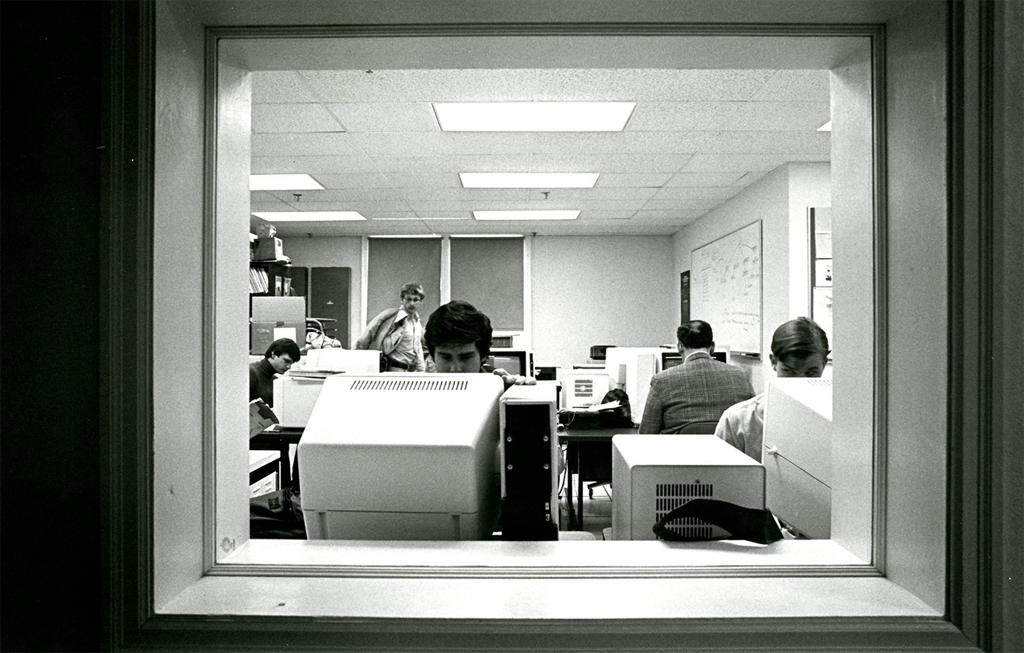 Bucknell University students and faculty at work in a computer lab.