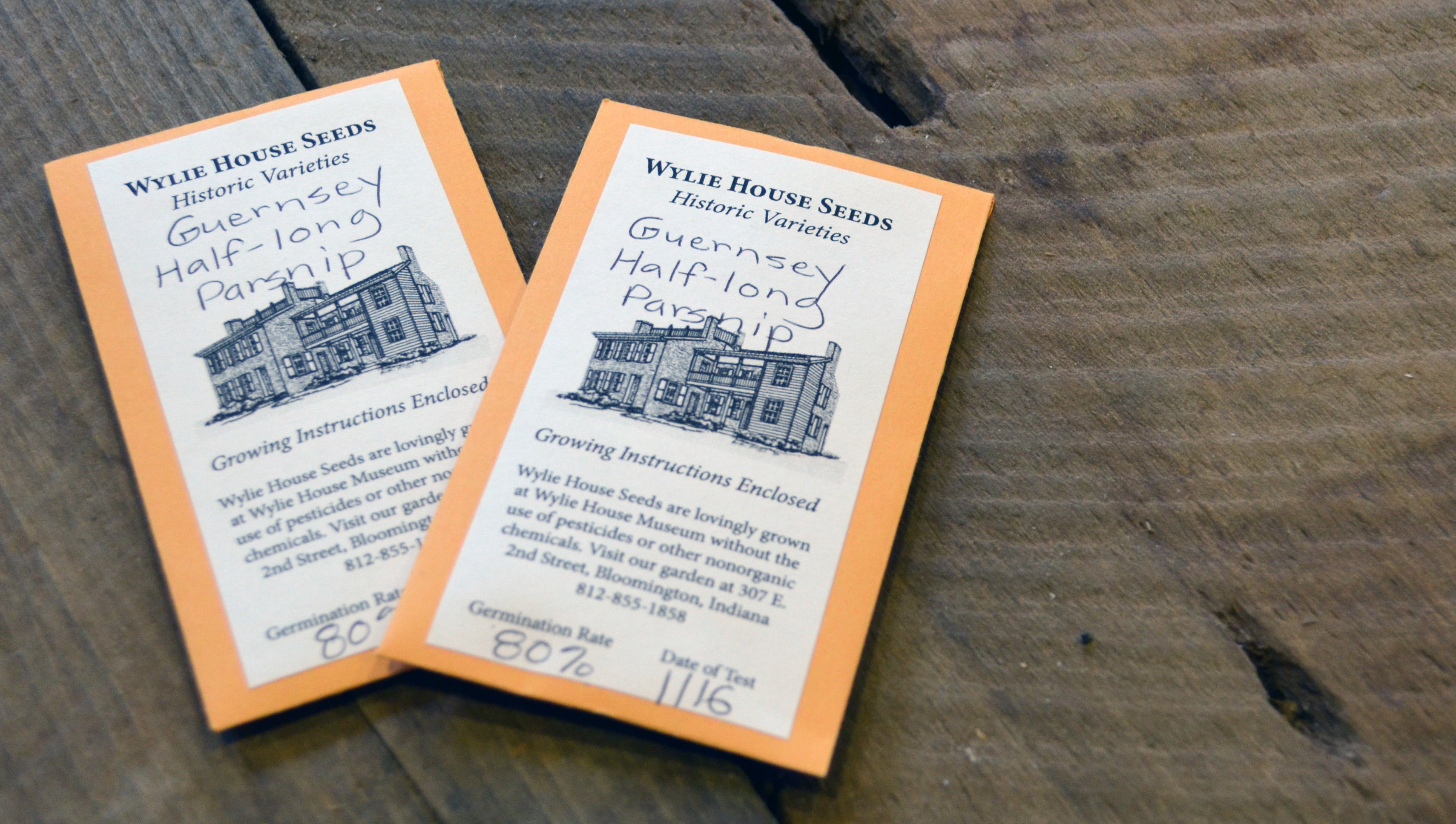 Photo of seed packets offered by Wylie House