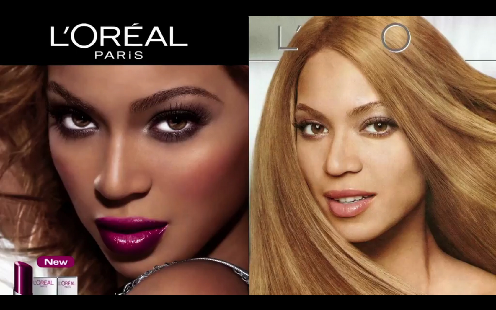 Two ads featuring Beyoncé, her skin is lighter in one ad than in the other.