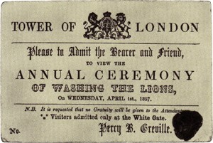 An 1857 invitation to the annual ceremony of washing the lions.