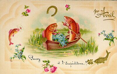 French greeting card featuring April Fish