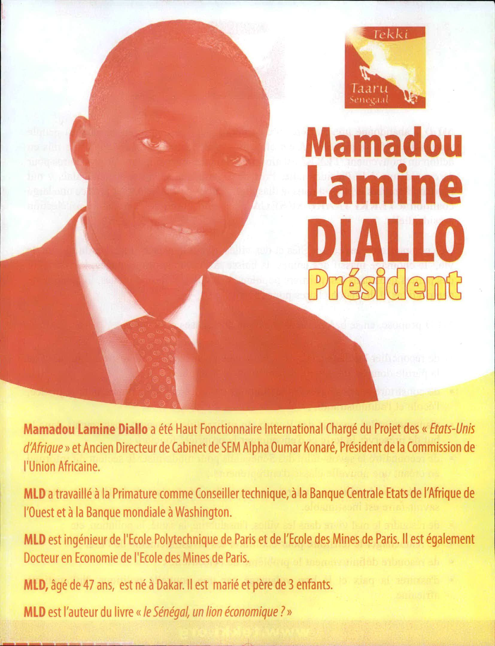 Mamadou Lamin Diallo 2007 Presidential Campaign side 1