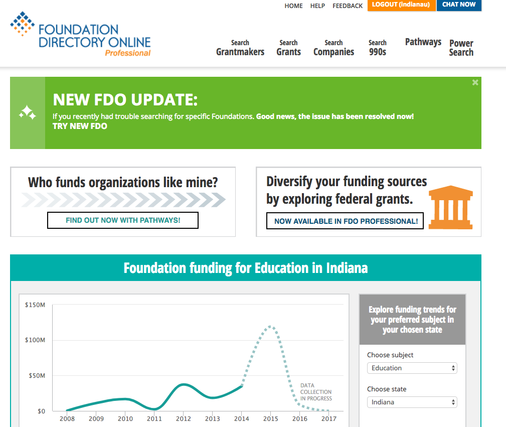 Image shows logo of the Foundation Directory Online