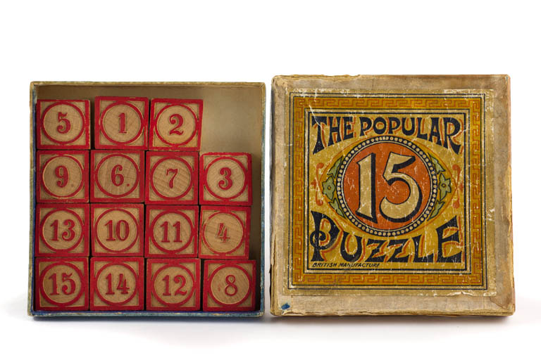 Photograph of the cover of The Popular 15 Puzzle (England, circa 1900)