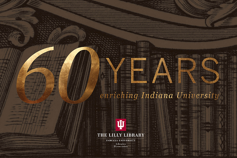 A graphic of books has the words 60 Years Enriching Indiana University