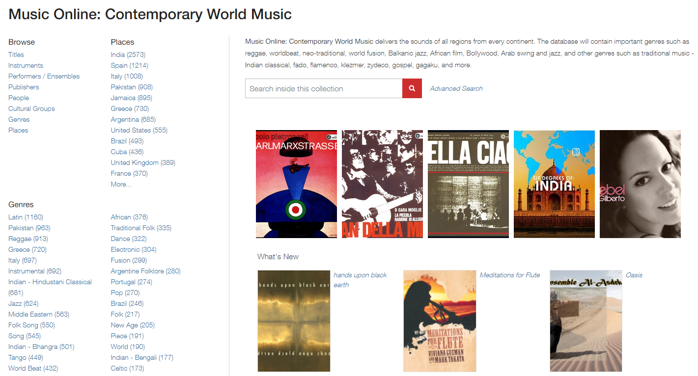 Screen capture of the homepage for Contemporary World Music Online