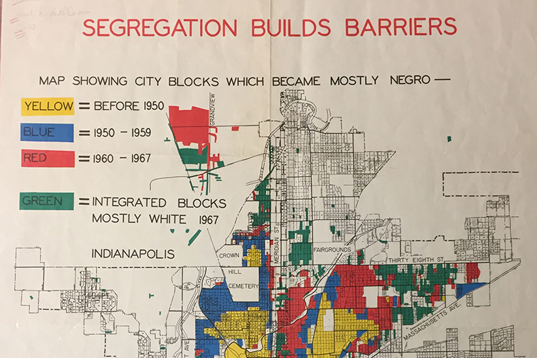 A scanned image of a 1960s map showing segregation in Indianapolis, Indiana
