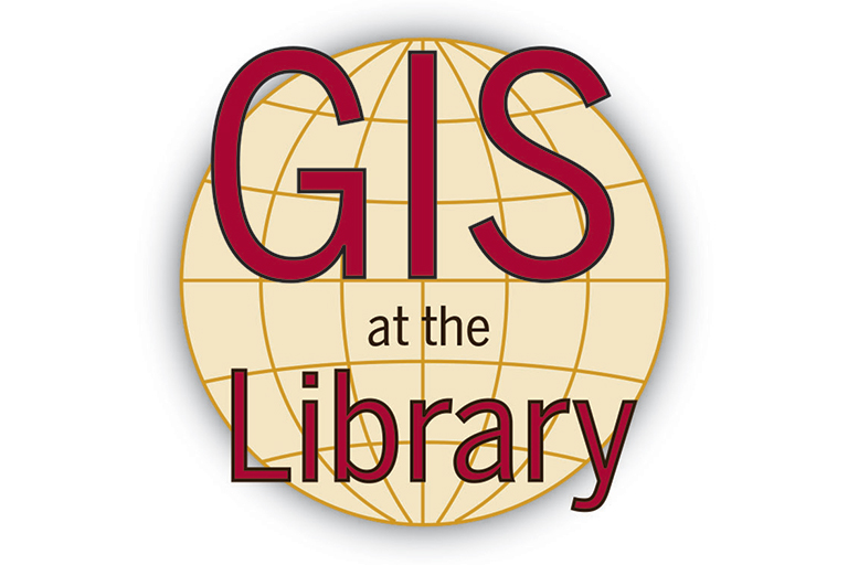 """GIS at the Library"" superimposed on a line drawing of a sphere."