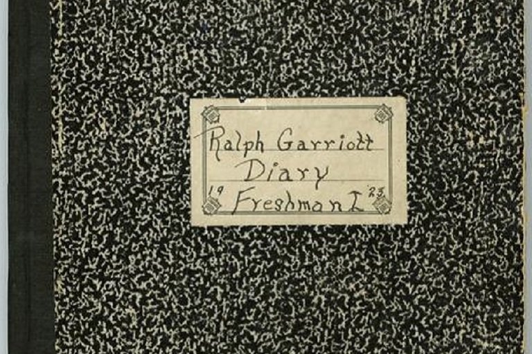 "Cover of a student diary labeled ""Ralph Garriott Diary Freshman I '25"""