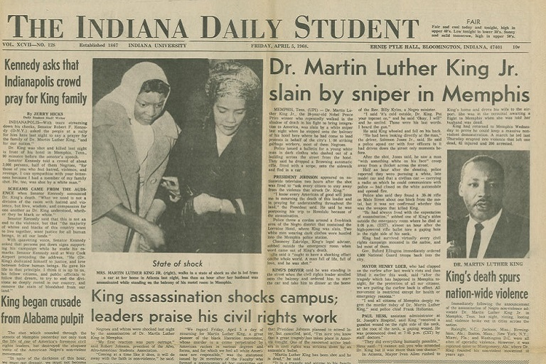 Indiana Daily Student front page with news of MLK's assassination