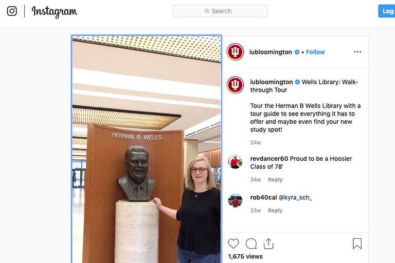 Instagram screenshot: Wells Library Walk-through Tour showing bust of Herman B Wells in the lobby
