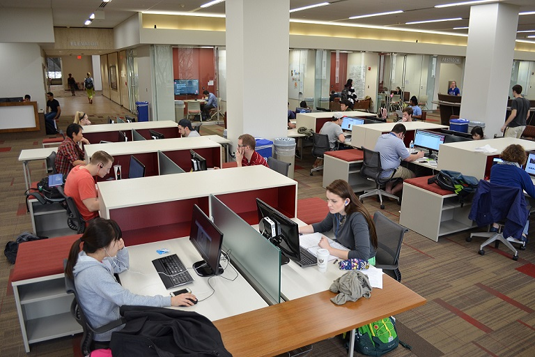 Students working in the Learning Commons