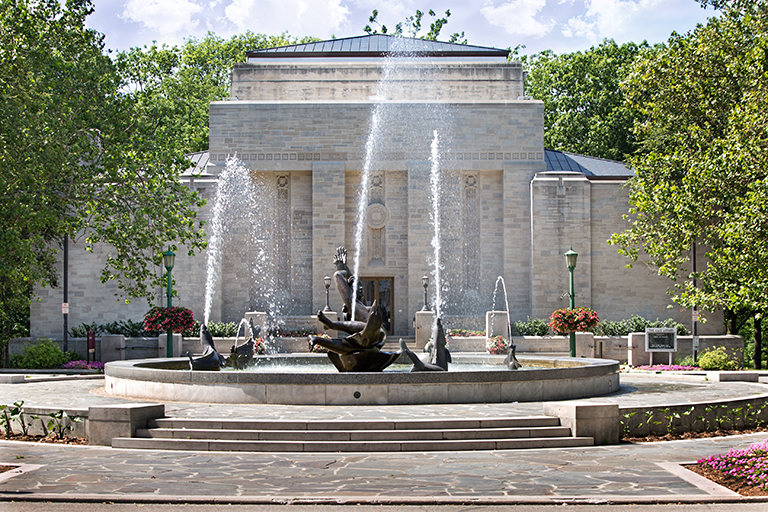 Lilly Library exterior, with Showalter Fountain in foreground
