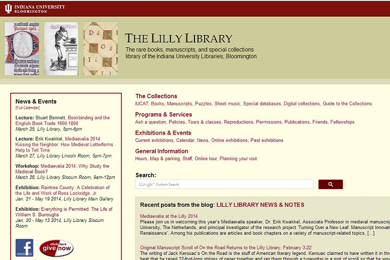 Screenshot of Lilly Library home page