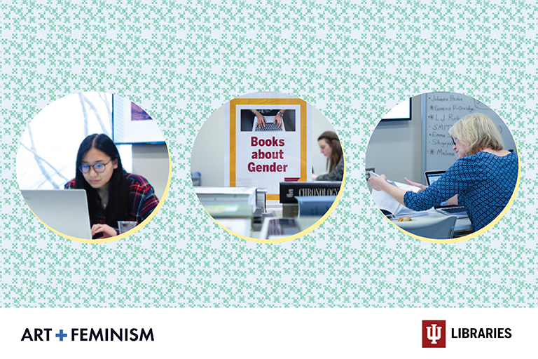 A three picture banner featuring women working on laptops or with books
