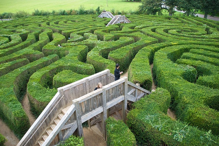 a green hedge maze with a bridge overlooking it