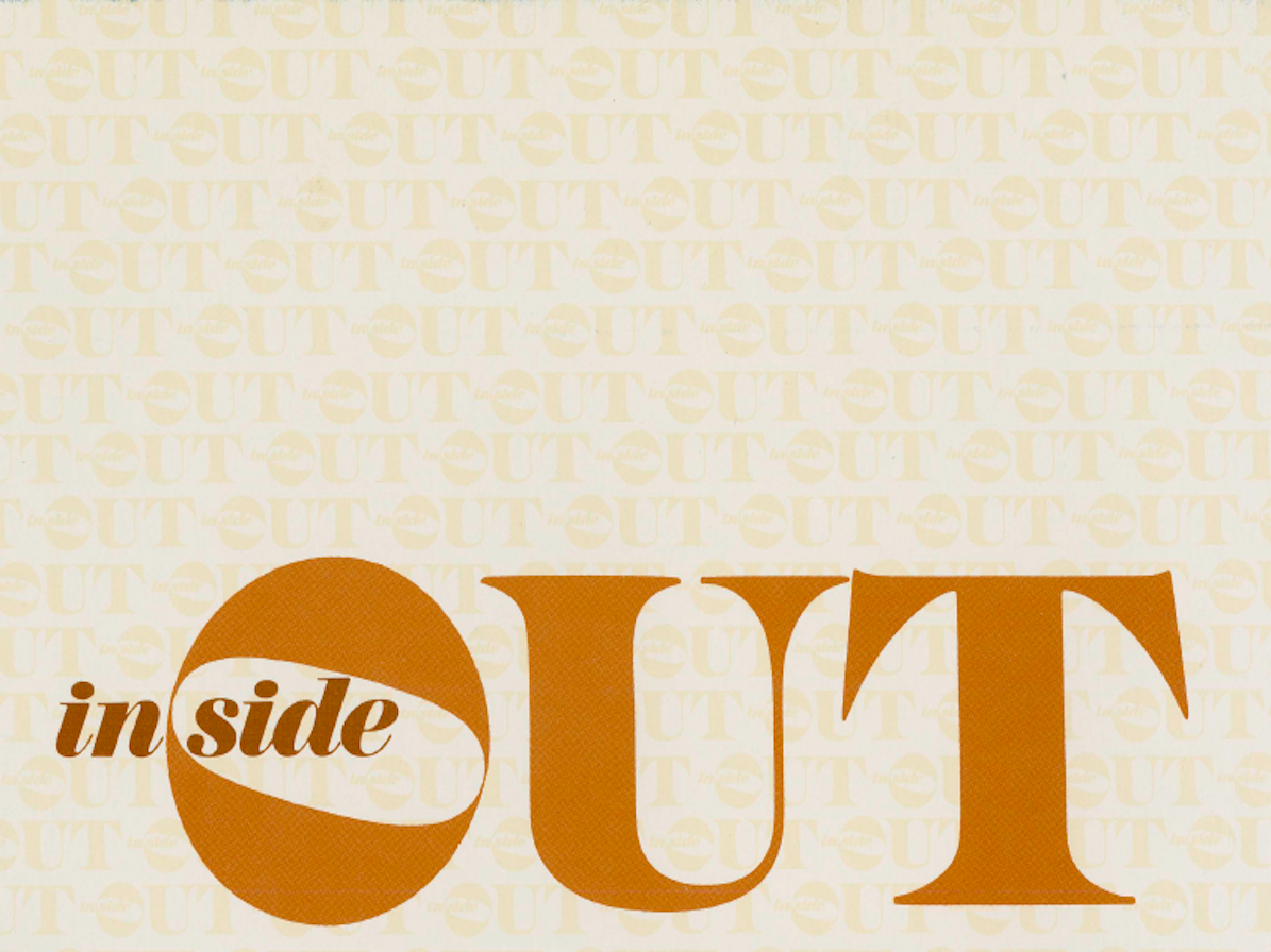 inside out logo with brown and orange lettering