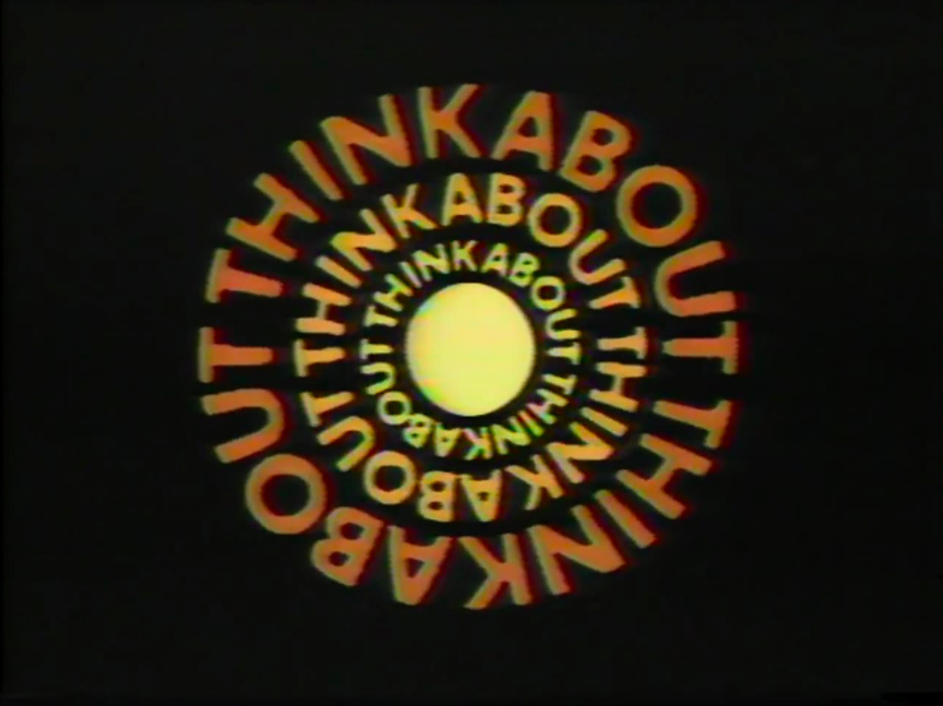 "Thinkabout title screen with the words ""thinkabout"" in concentric circles."