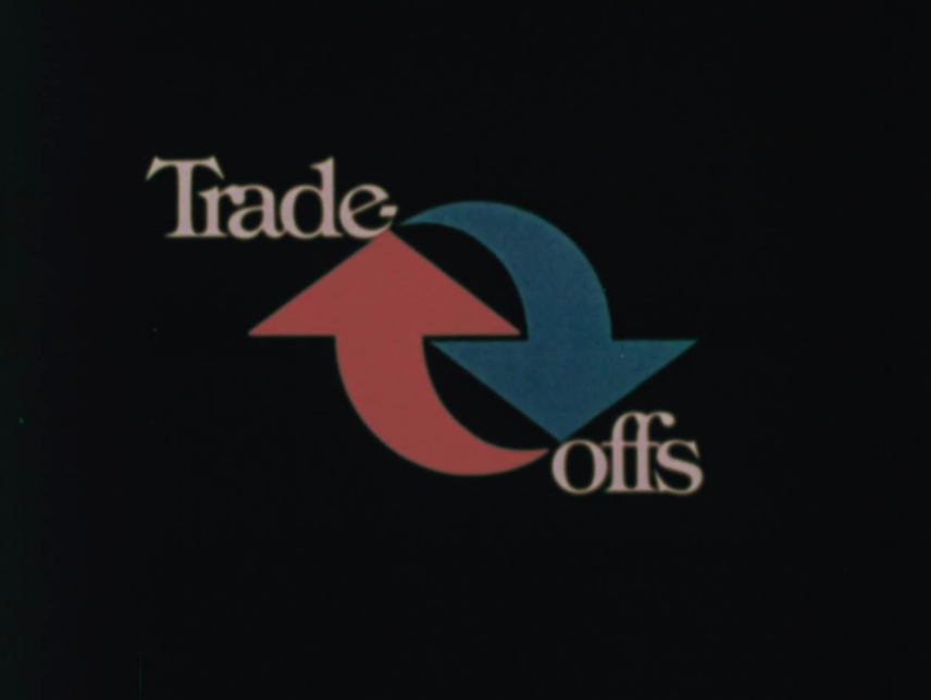 title screen for trade offs shows a red arrow pointing up and a blue arrow pointing down