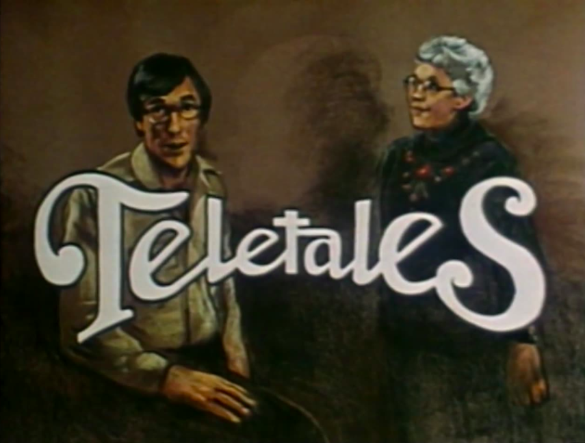 title card showing illustrations of the hosts of Teletales showing a man and a grey haired woman