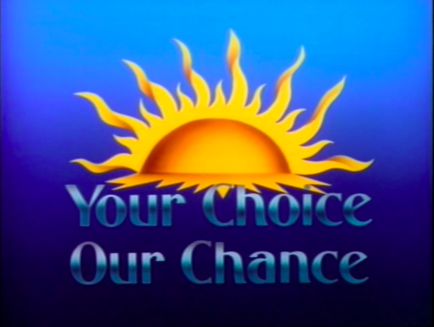 title card for Your Choice Our Chance showing a blue background and sunrise out of the program title