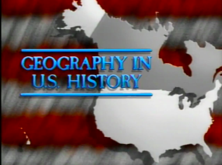 american flag background overlaid with united states map and title for program geography in U.S. history