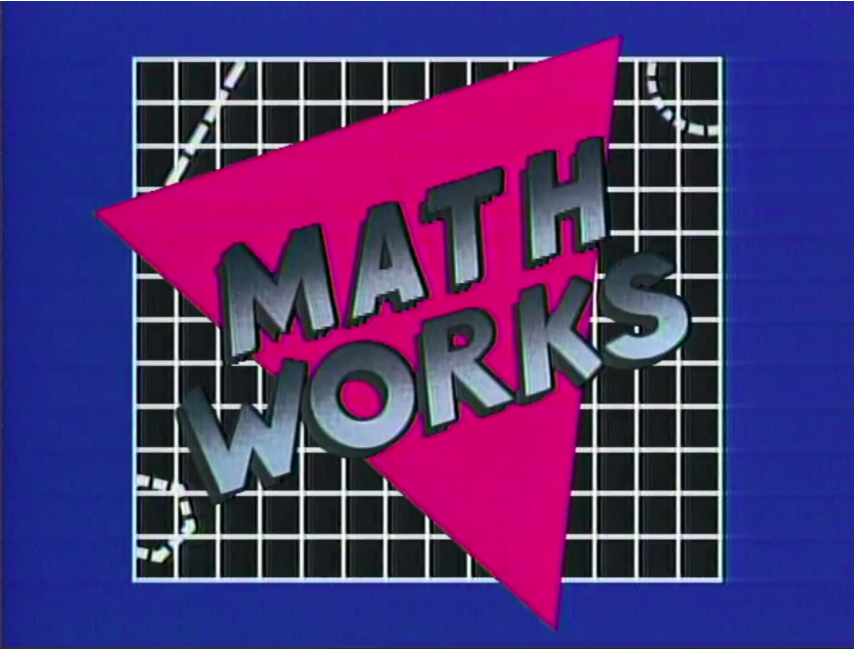 Math Works title screen with bright triangle positioned over graphing squares.
